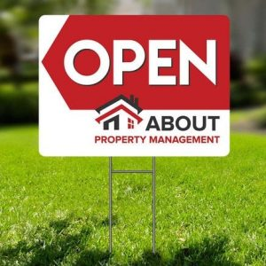 About Property Management open home sign